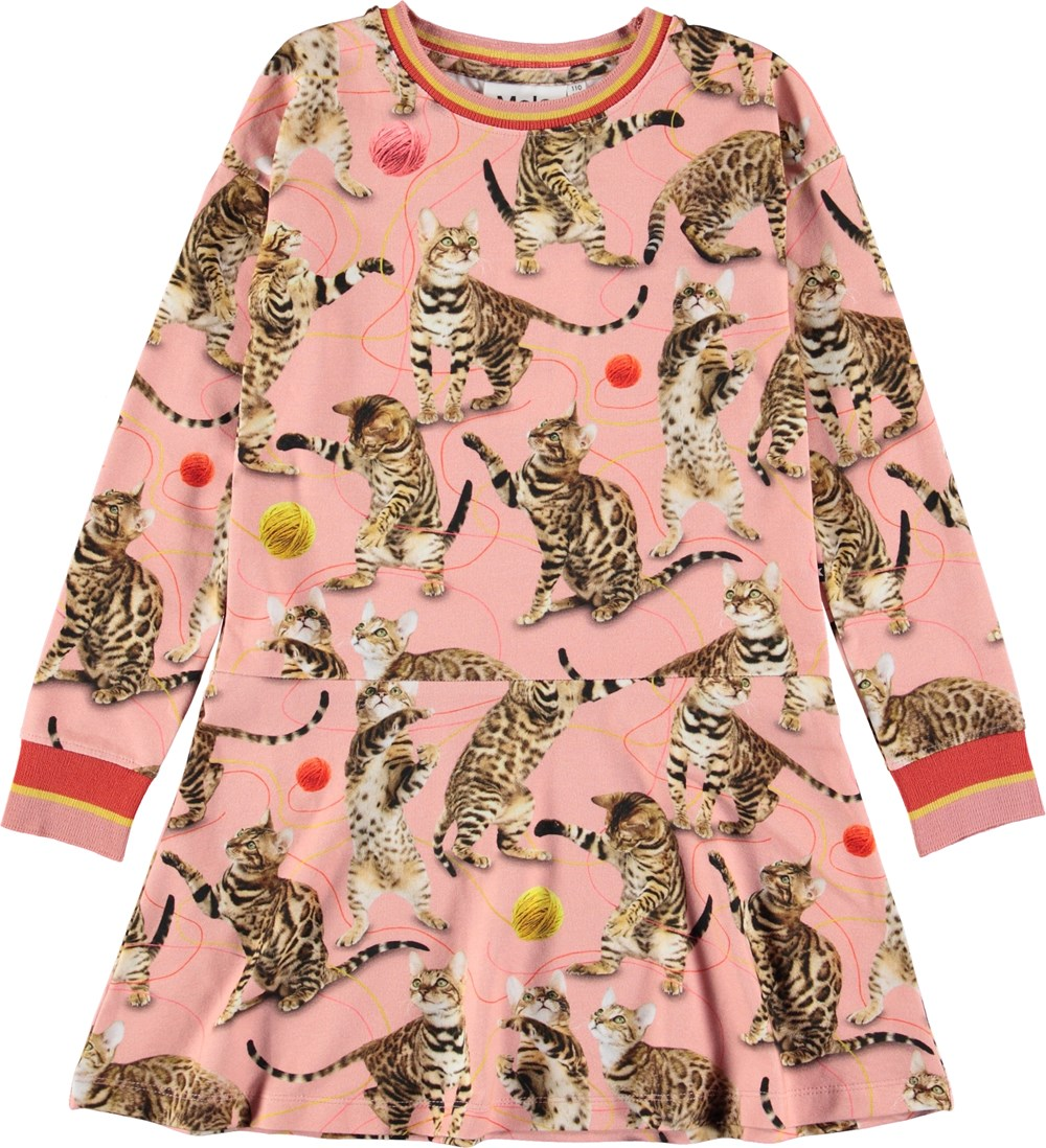 Conny - Wannabe Leopard - Lyserød kjole med katte.