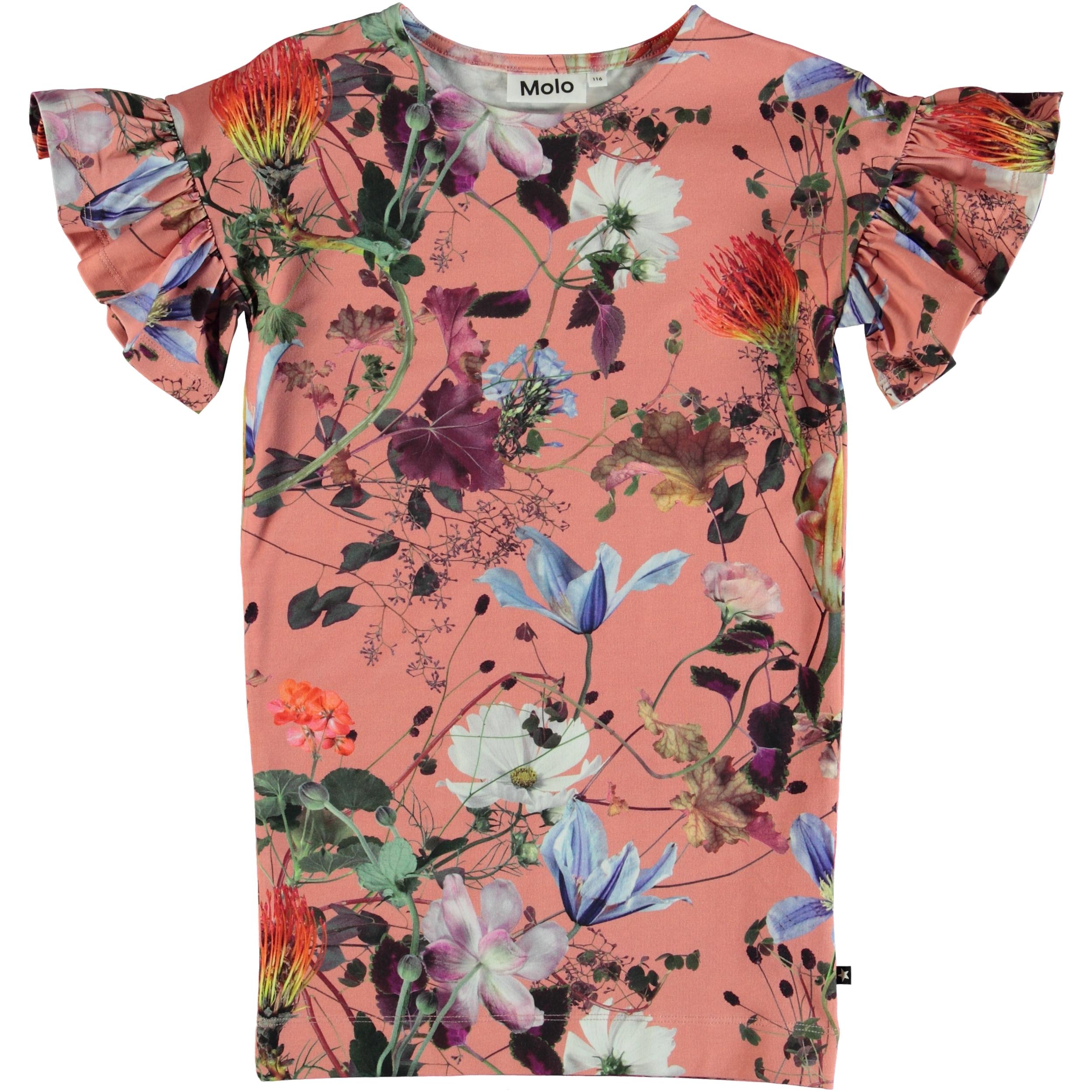 b80269a6 Coralie - Flowers Of The World - Blomstret kjole med flæseærmer. - Molo