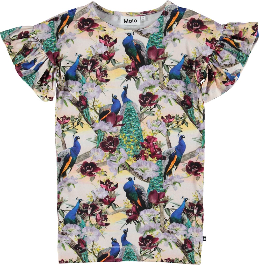 Coralie - Oriental Peacocks - Kjole med påfugle og blomster.