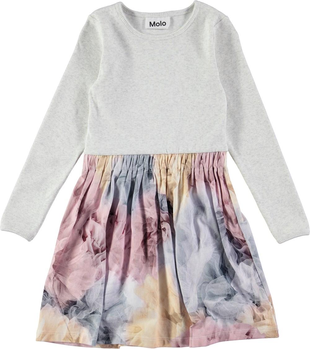Credence - Bella Bella - Langærmet kjole i rib med digitalprintet skørt