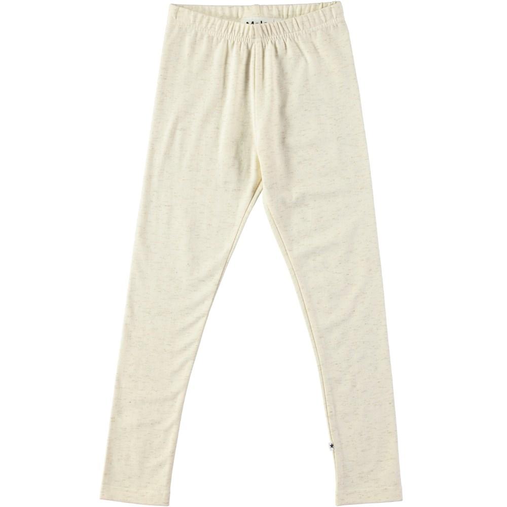 Niki - Pearled Ivory - Cremefarvede klassiske leggings med glimmer