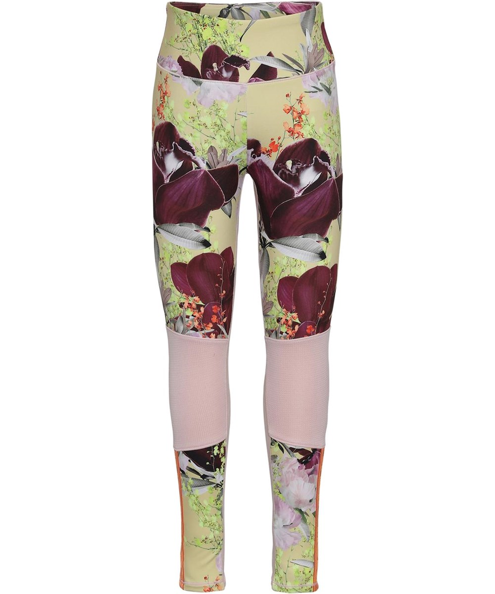 Olympia - Orchid - Lysegule blomstrede sports leggings