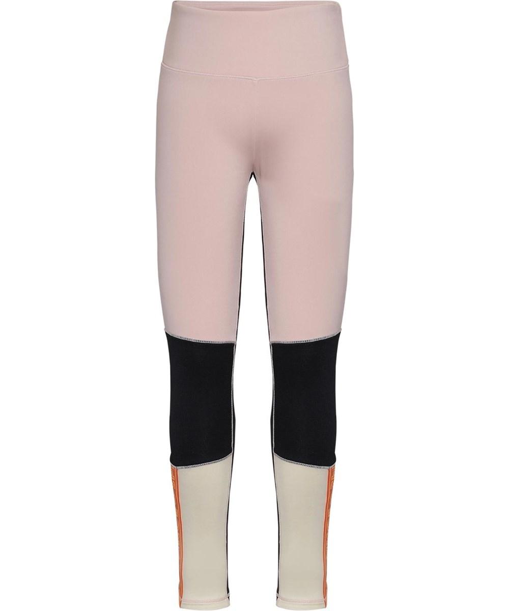 Olympia - Sporty Block - Lysegule og rosa sports leggings