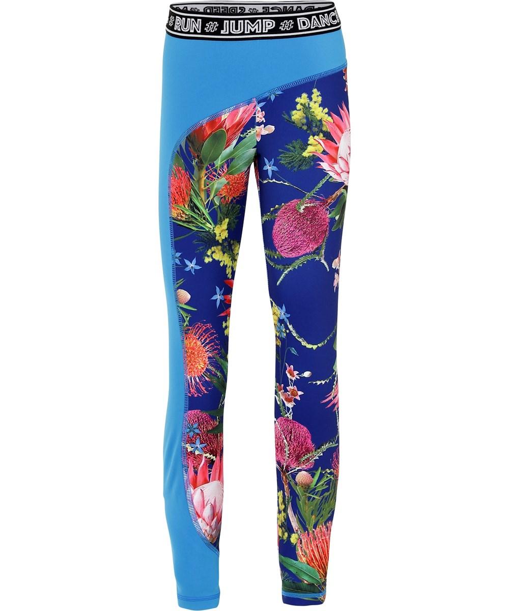 Olympia - Wild Flowers - Blomstrede blå sports leggings