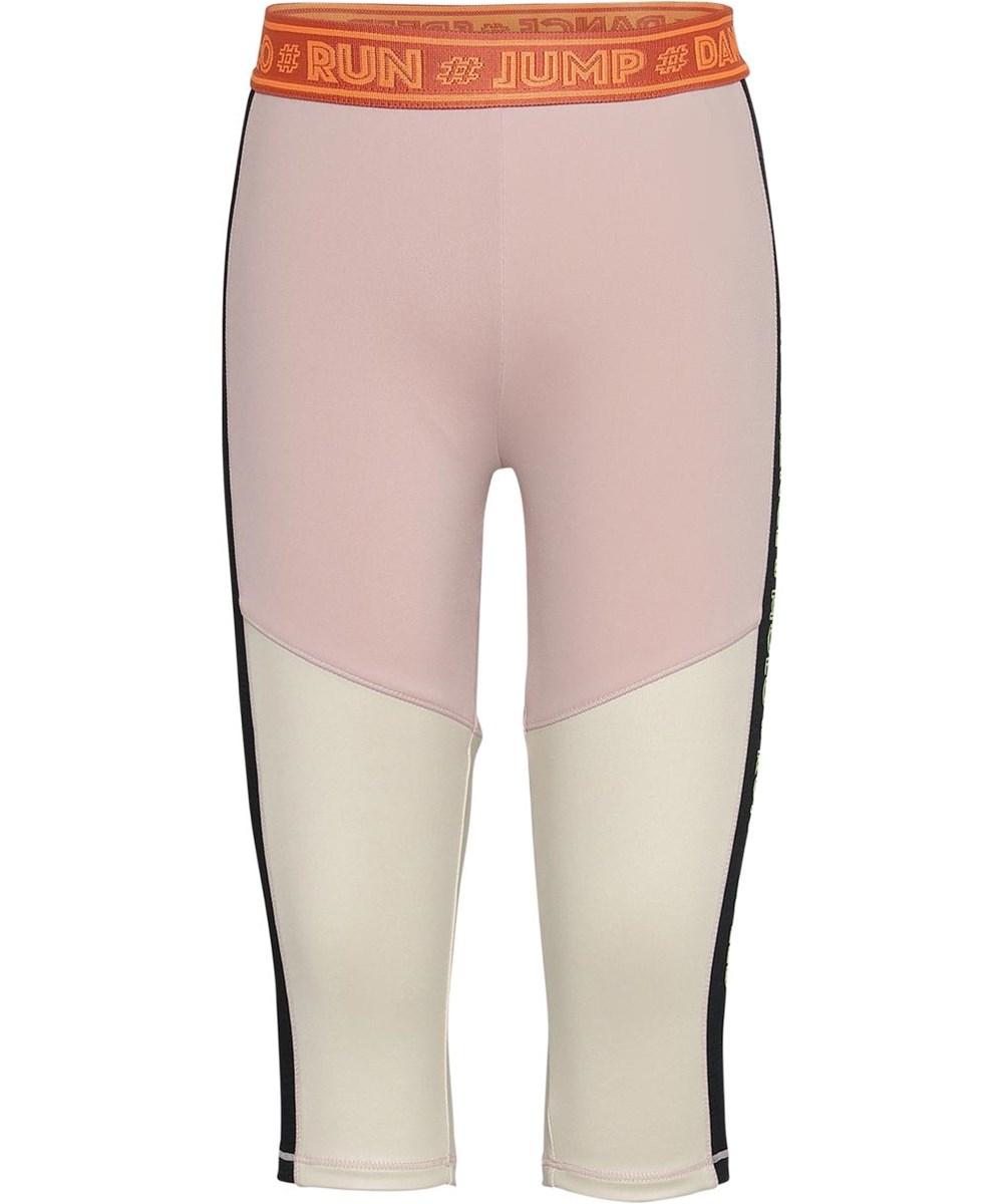 Orlaith - Sporty Block - Korte sports leggings i lysegul og rosa