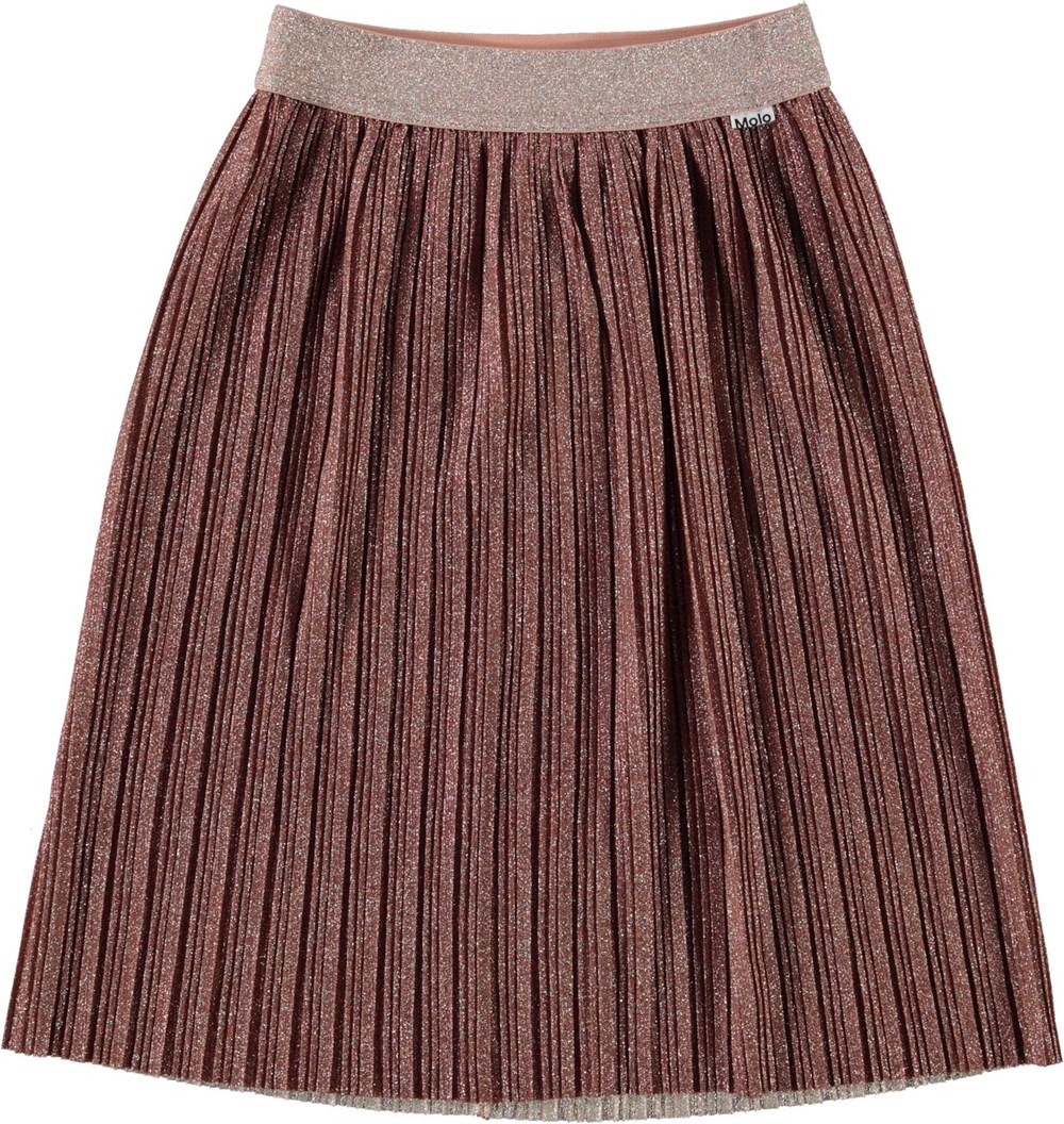 Bailini - Autumn - Pliseret bronze nederdel med glimmer