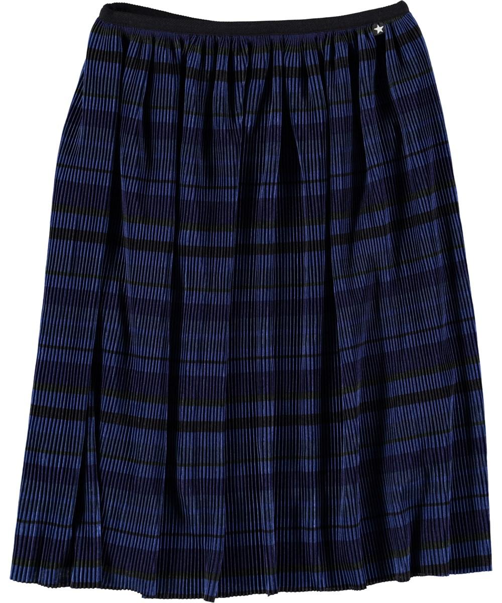 Bailini - Classic Navy - Mørkeblå plissé midi skirt med striber