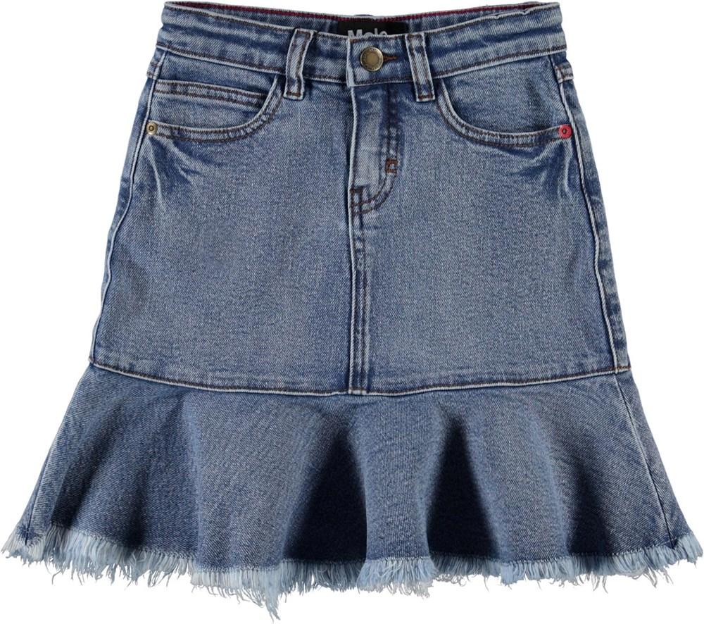 Barbro - Stone Blue - Blå denim nederdel