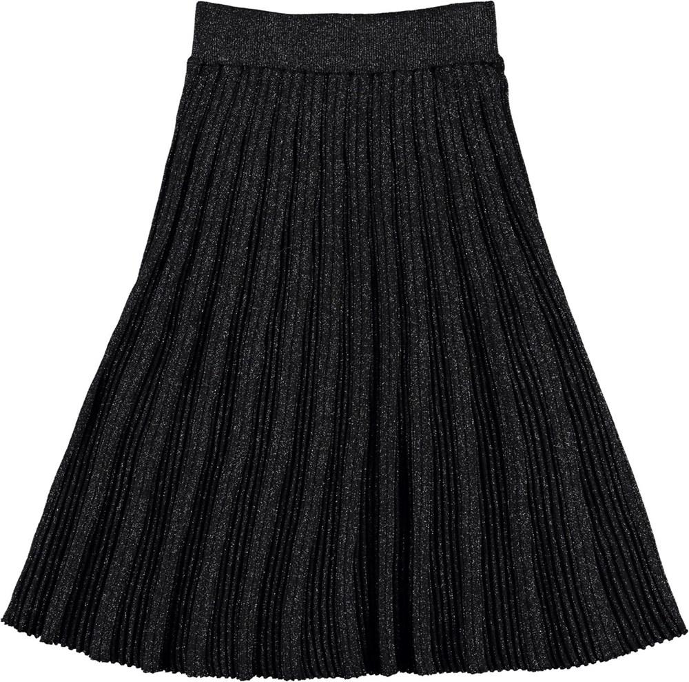 Beatrice - Black - Sort pliseret glitter nederdel