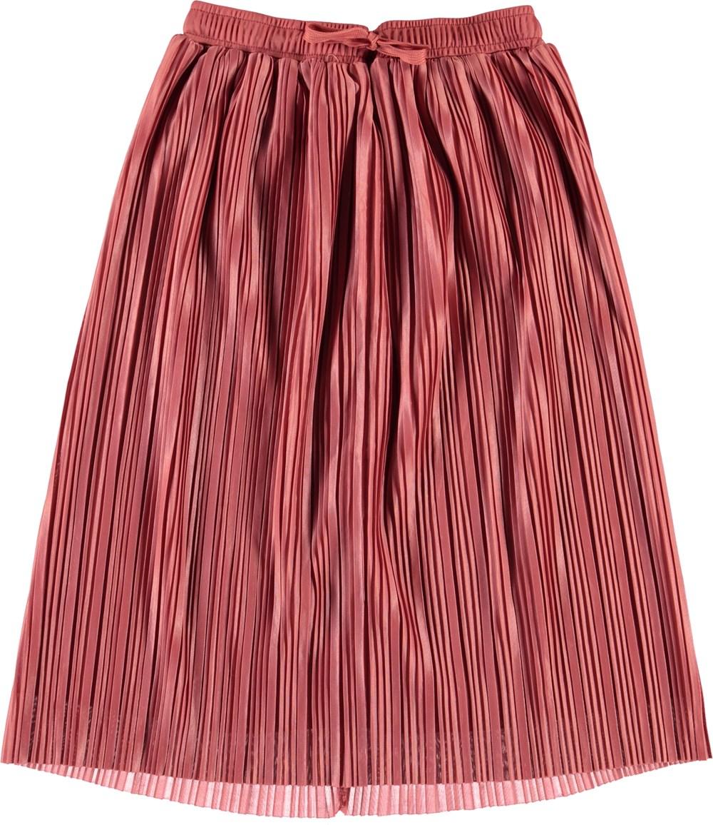 Becky - Faded Rose - Rosa pliseret midi nederdel