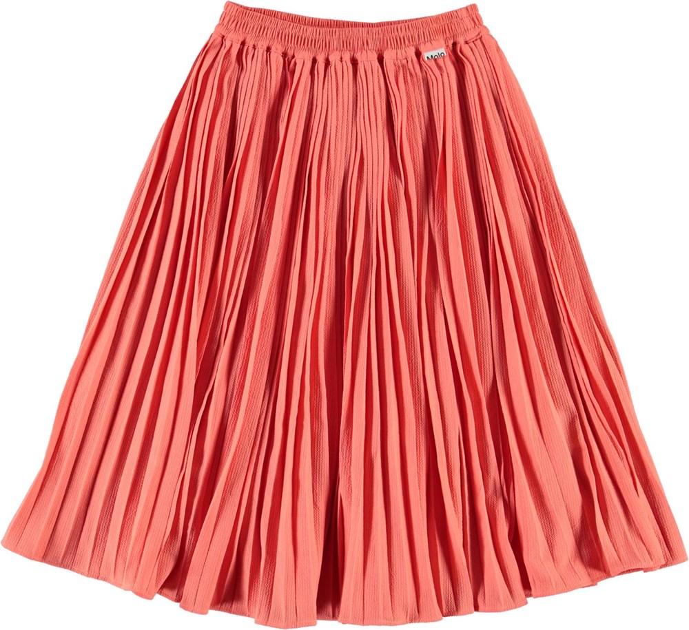 Becky - Fresh Coral - Koral farvet pliseret nederdel