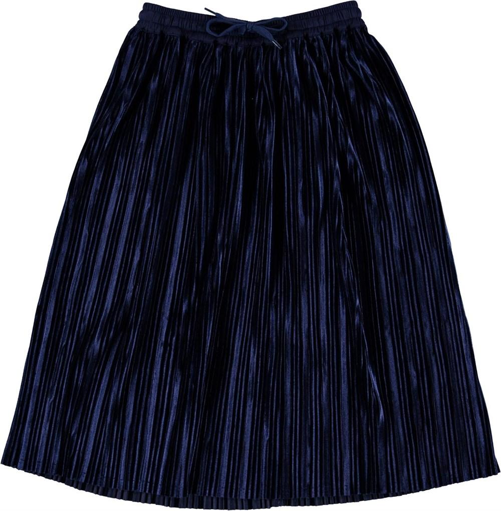 Becky - Ink Blue - Blå pliceret nederdel i velour