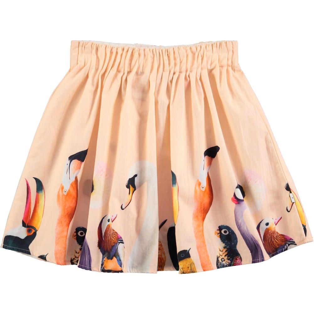 Belle - Paradise Birds - ferskenfarvet nederdel med fugleprint