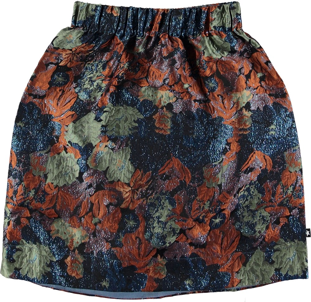 Betsy - Midnight Floral - Jaquard nederdel med glimmer.