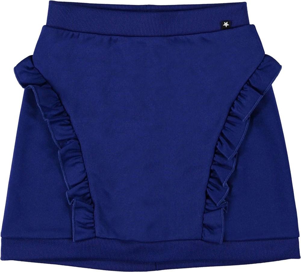 Beverly - Lapis Blue - Blå nederdel med flæser.