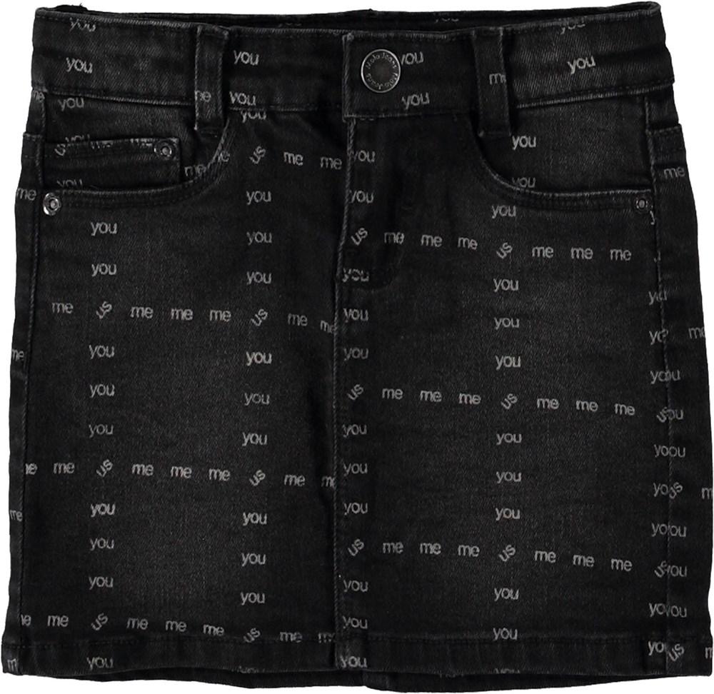 Bianna - US! Black - Sort denim nederdel med ord.