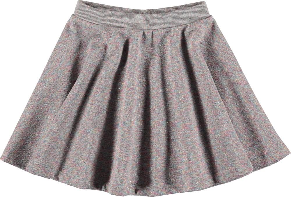 Bibi - Shimmer Grey - Grå nederdel med glimmer.