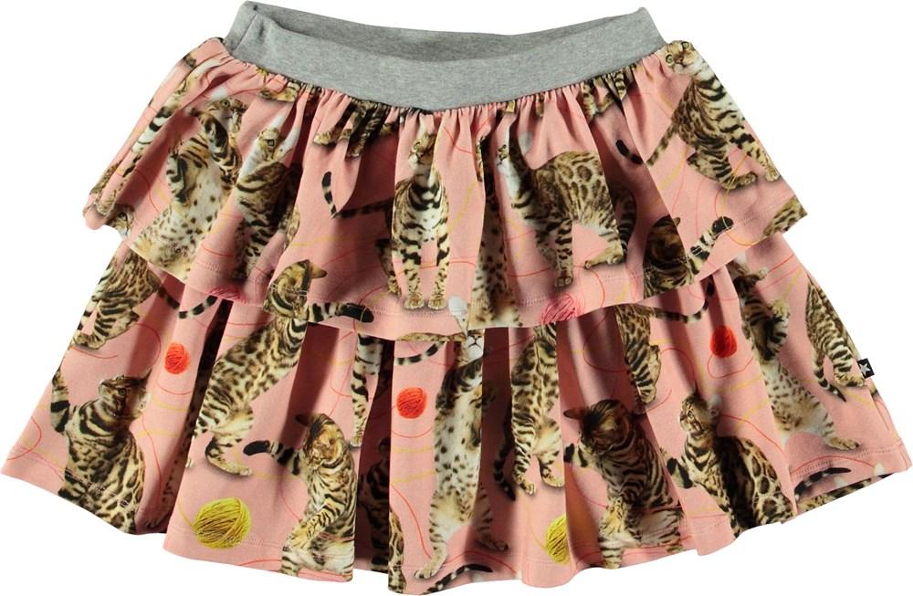 Bini - Wannabe Leopard - Lyserød nederdel med katte.
