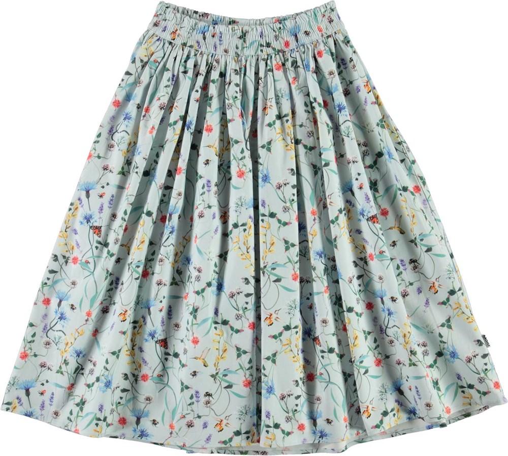 Bree - All Small Things - Økologisk lyseblå nederdel med blomster