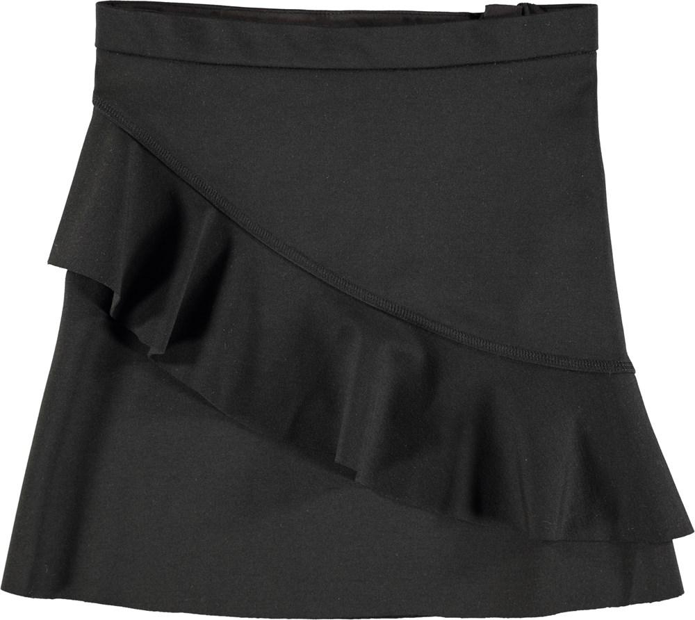 Breena - Black - Sort nederdel med bred flæse