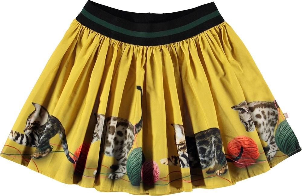 Brenda - Playful Kitties - Gul nederdel med killinger.
