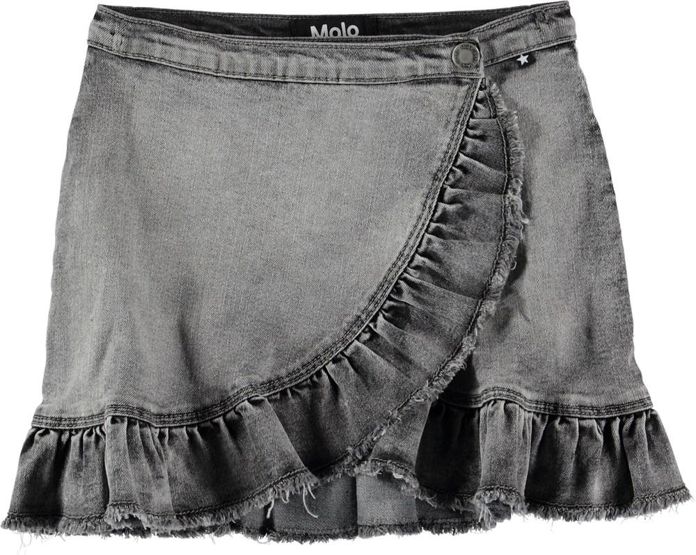 Brigitt - Grey Washed Denim - Grå denim nederdel med flæser.