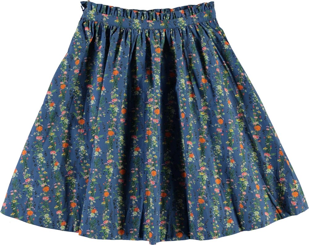 Brisani - Vertical Flora Mini - Blå blomstret nederdel