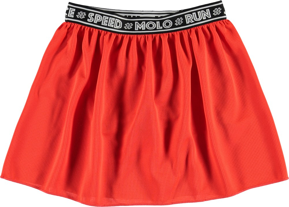 Ola - Coral Red - Coral farvet nederdel med under shorts
