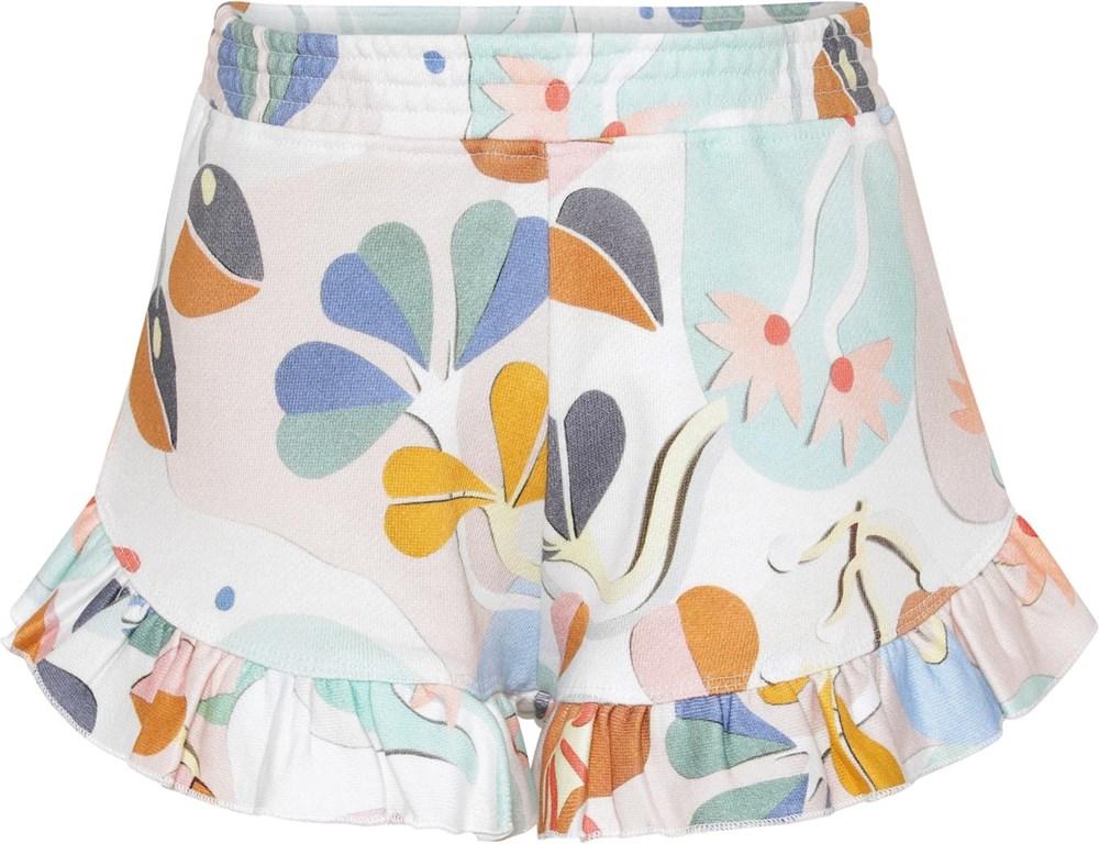 Amma - Papercut Sweat - Shorts med pastelfarvet print og flæse kant