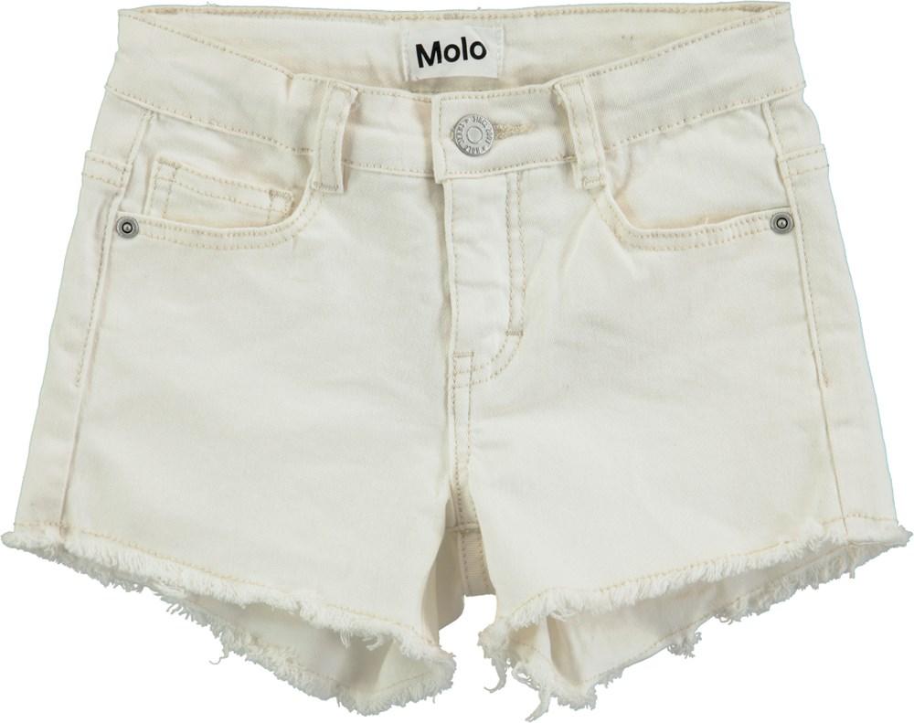 Ayla - White Star - Korte, hvide denim shorts med frynser