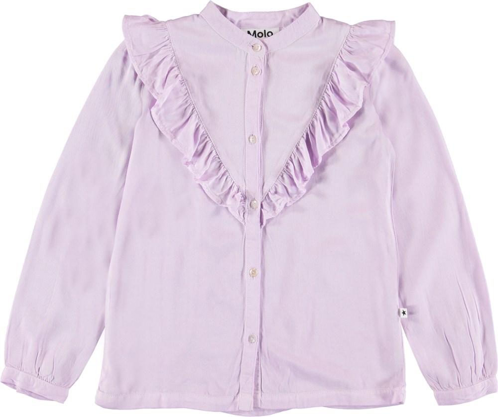 Rassine - Frozen Lilac - Lilla skjorte med flæsekant.