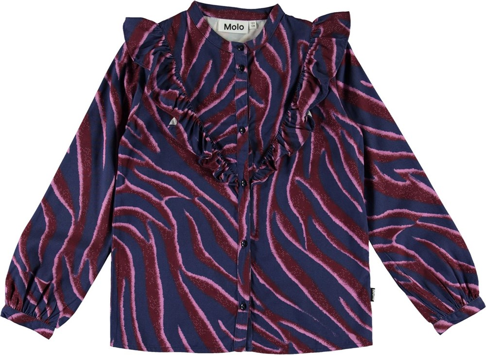 Rassine - Zebra Stripes - Blå skjorte med zebra print