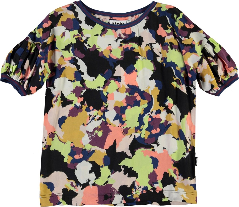 Robyn - Pangea Camo - T-shirt med farvede felter