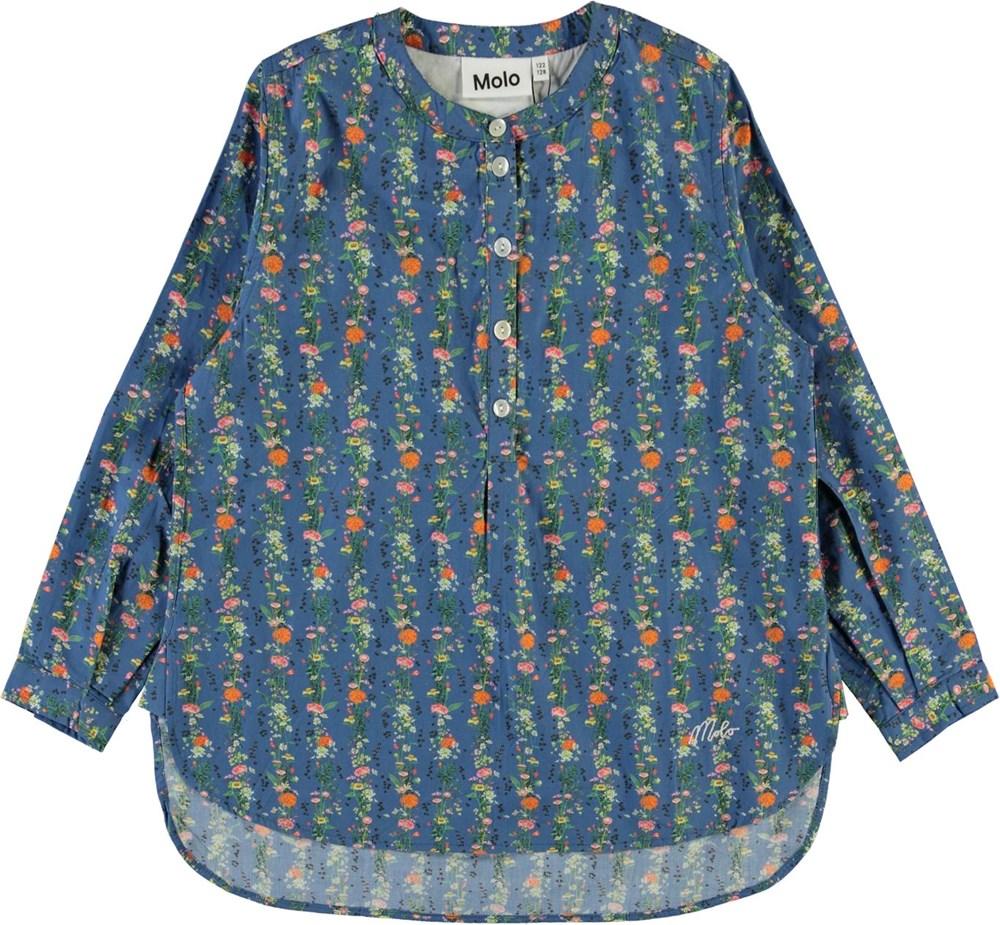 Runaris - Vertical Flora Mini - Blå skjorte med blomster print