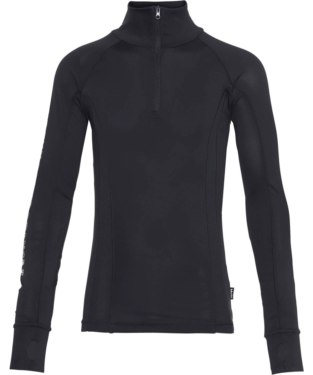 Oana - Black - Sort sports bluse med høj hals
