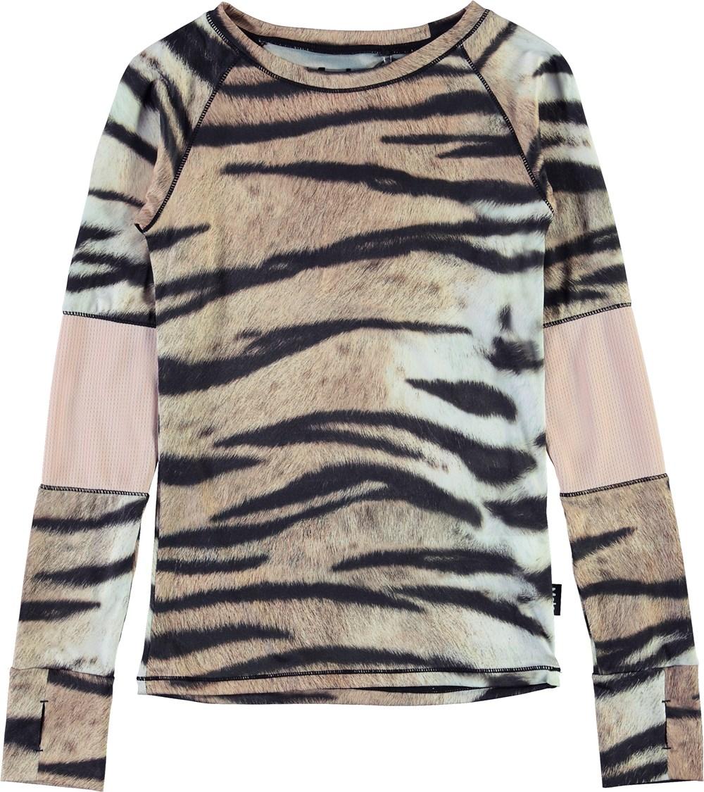 Odelia - Wild Tiger - Langærmet sports bluse i tiger print