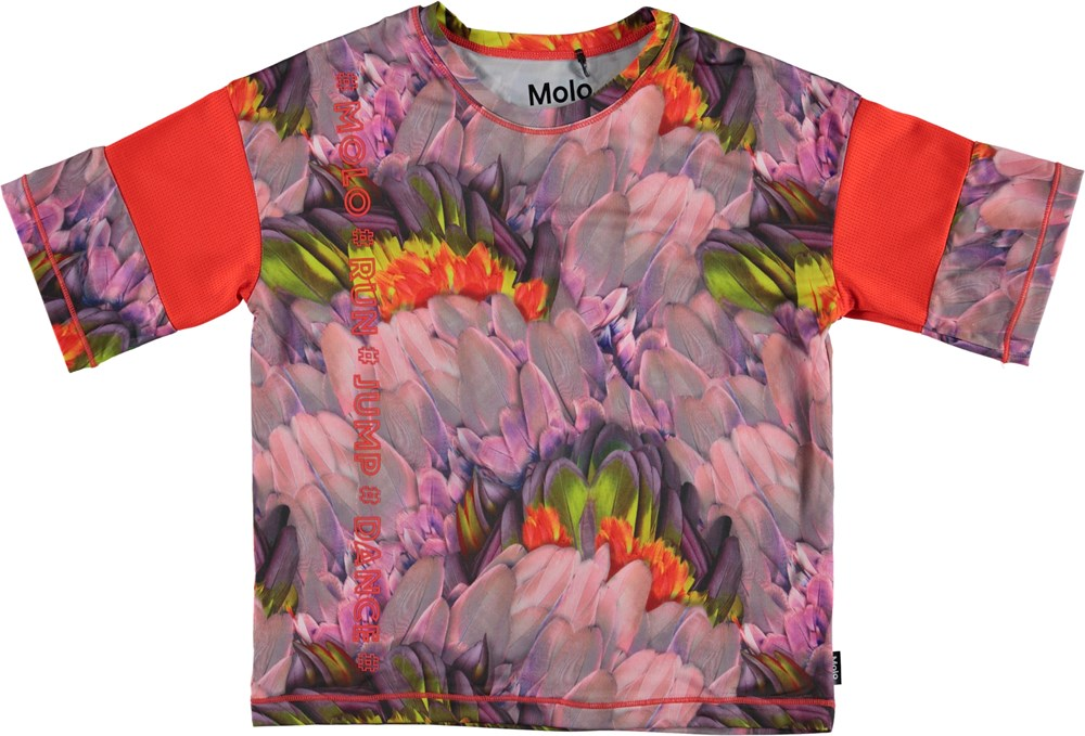 Odessa - Cacatua - Blomstret t-shirt med blå stribe