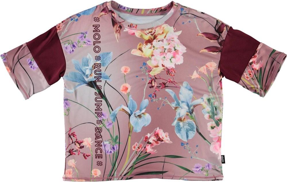 Odessa - Motion Flowers - Blomstret sports t-shirt