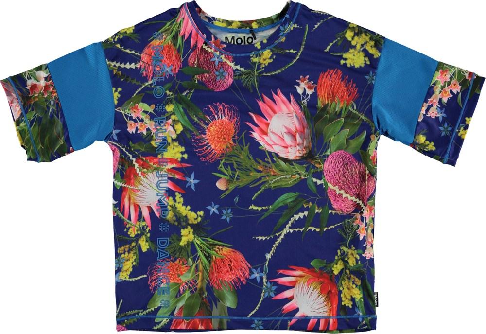 Odessa - Wild Flowers - Blomstret t-shirt med coral farvet stribe