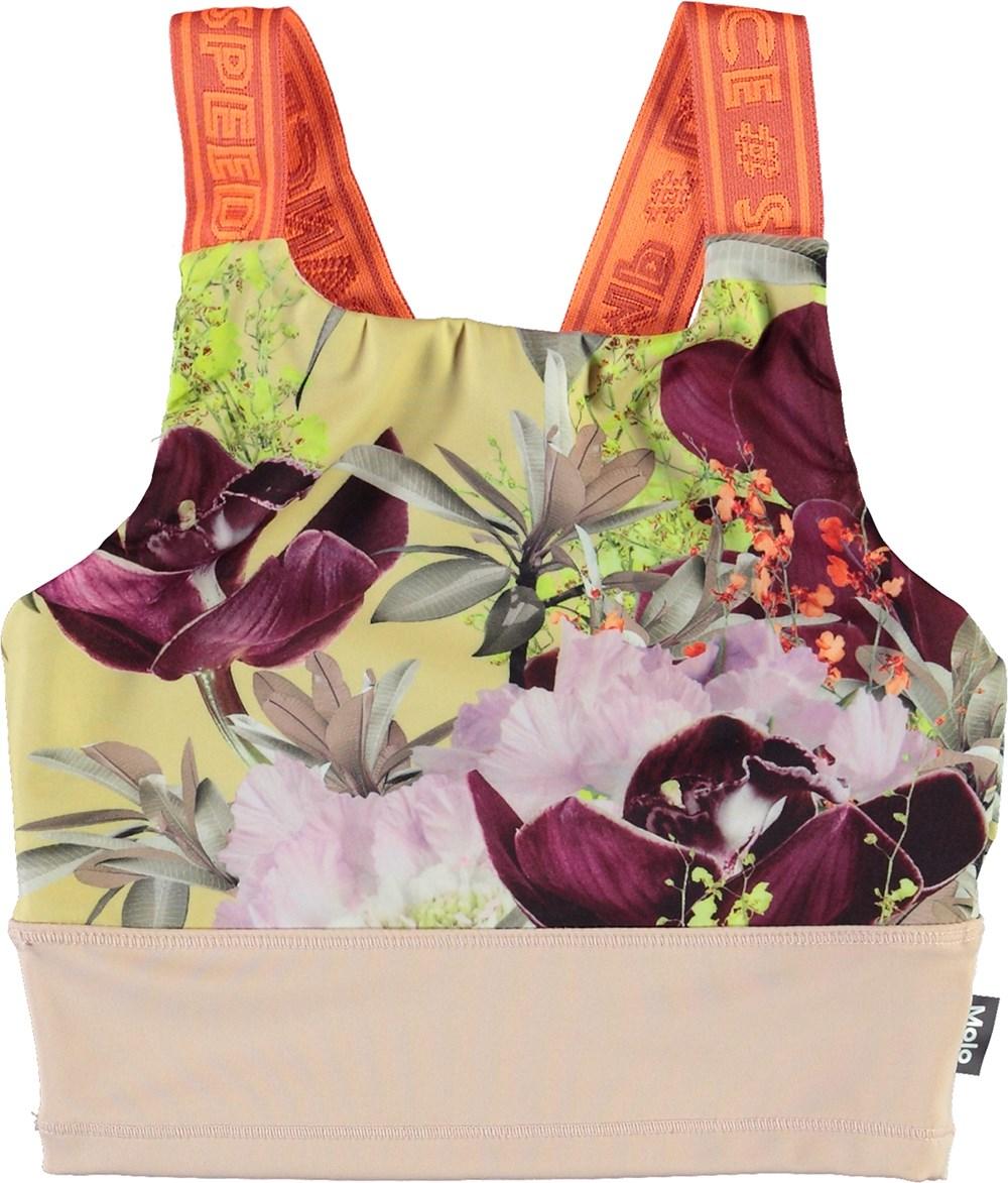 Oliva - Orchid - Sports top med blomster print og orange stropper