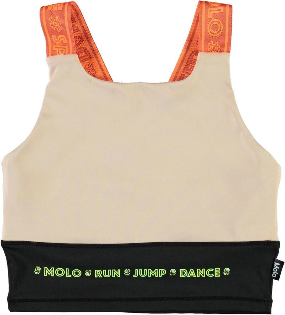 Oliva - Sporty Block - Sports top med orange stropper