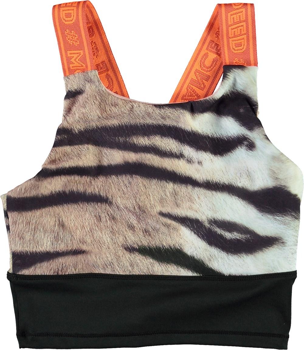 Oliva - Wild Tiger - Sports top med tiger print og orange stropper