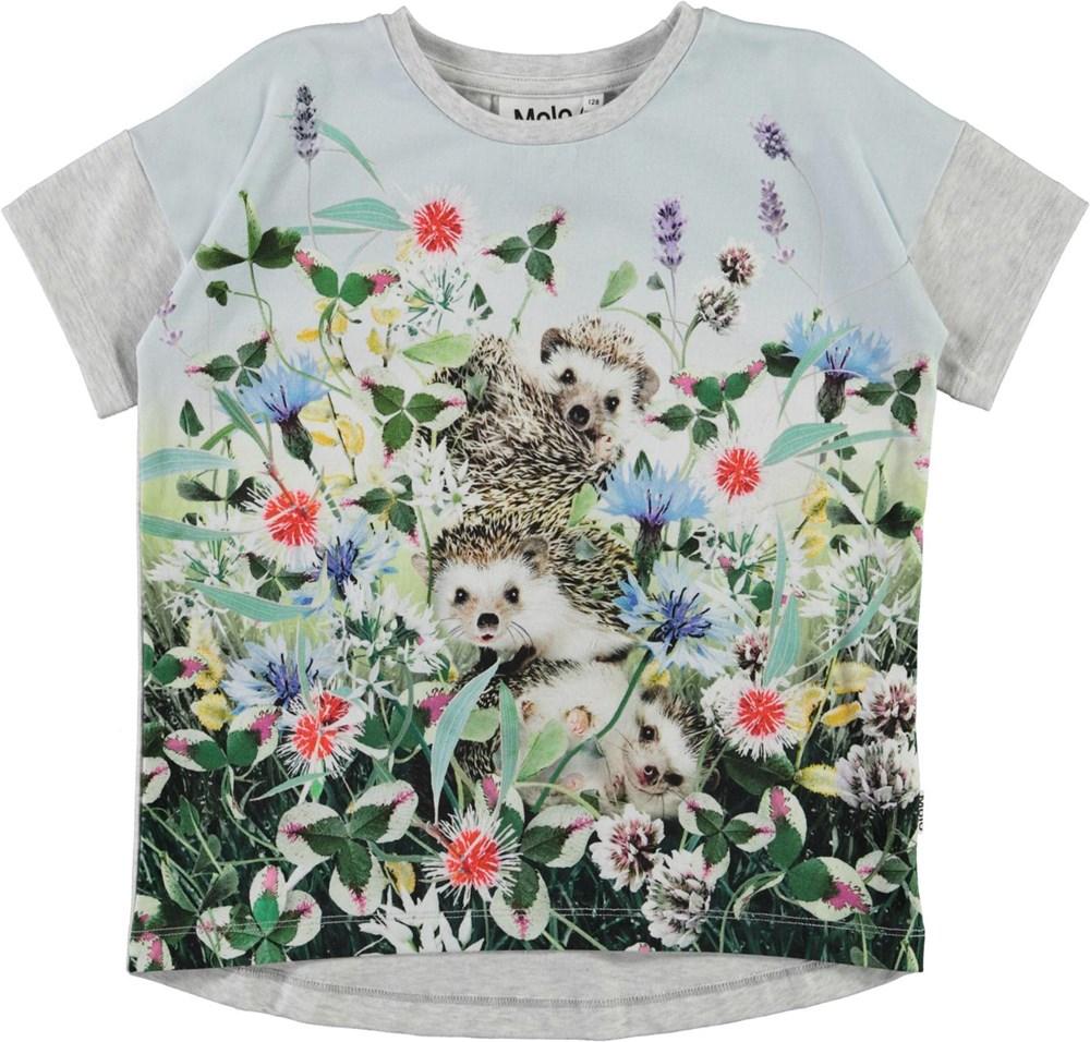 Raeesa - Hedgehogs - Økologisk lyseblå t-shirt med print af pindsvine og blomster