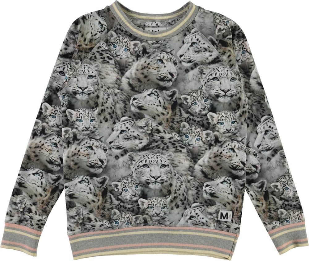 Raewyn - Winter Leopards - Økologisk bluse med print af sneleoparder