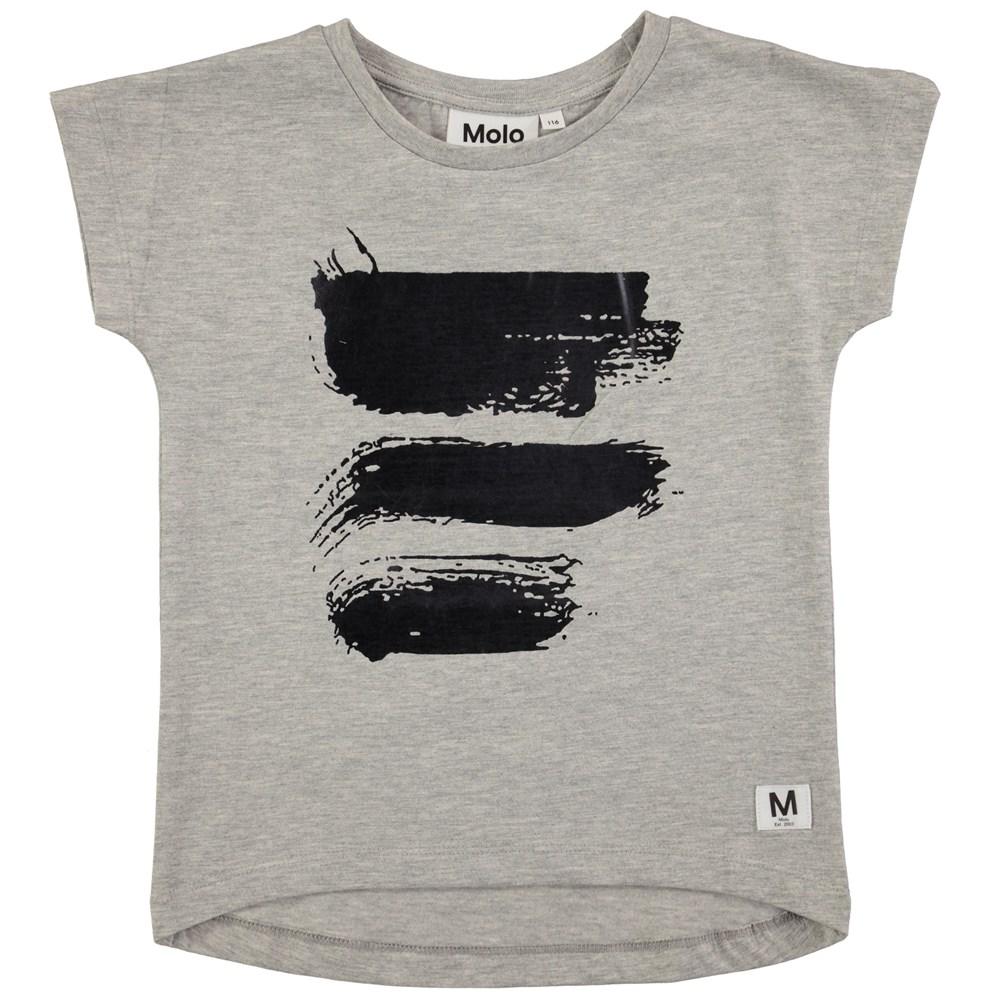Ragnhilde - Grey Melange - Kortærmet, grå t-shirt med print