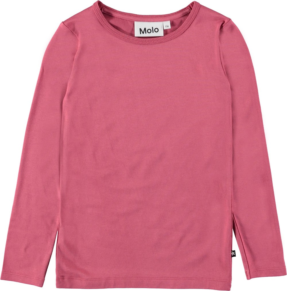 Ramona - Fairy Blossom - Langærmet bluse i mørk rosa.