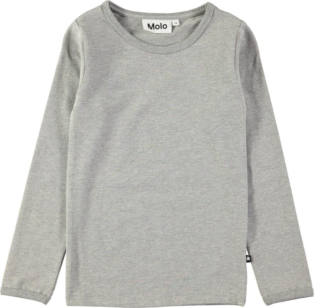 Ramona - Grey Melange - Grå, langærmet bluse med glimmer