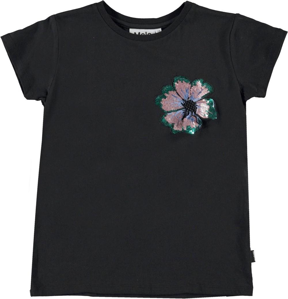 Ranva - Black - Sort t-shirt med paliet blomt