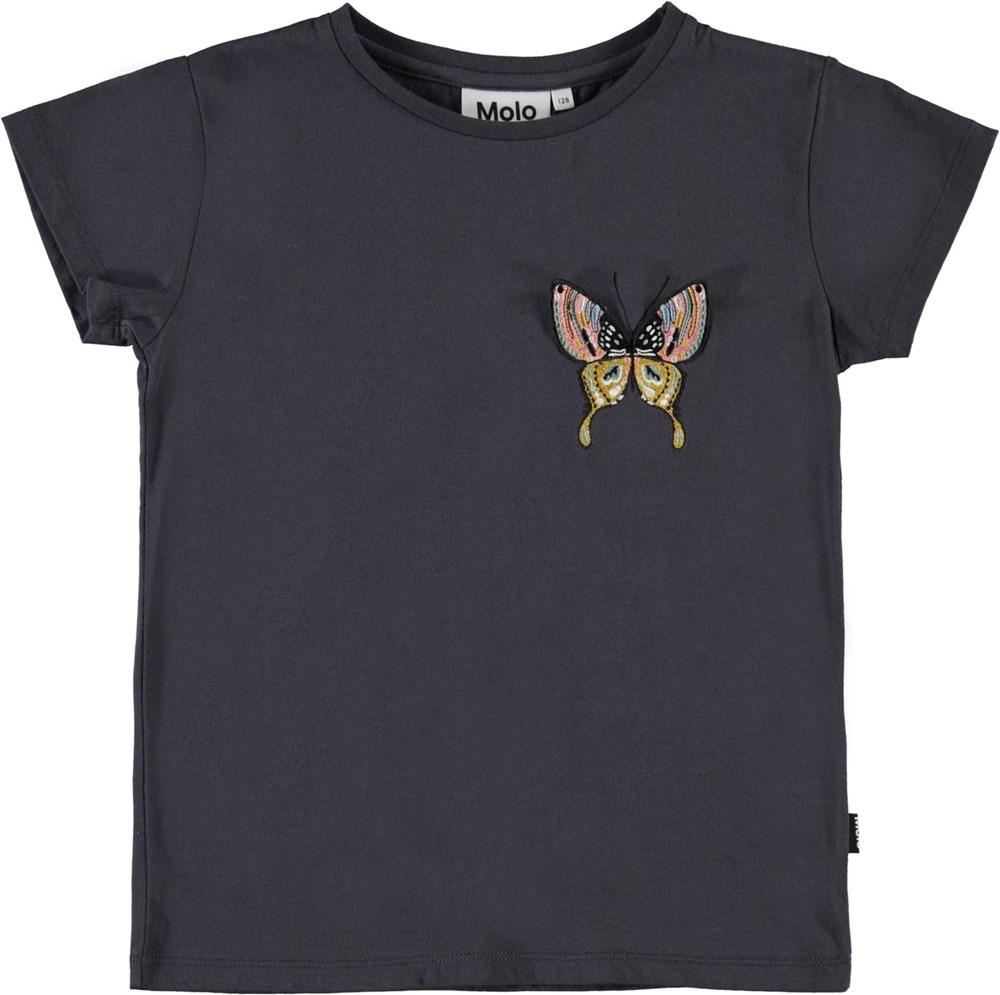 Ranva - Purple Night - Lilla t-shirt med broderet sommerfugl