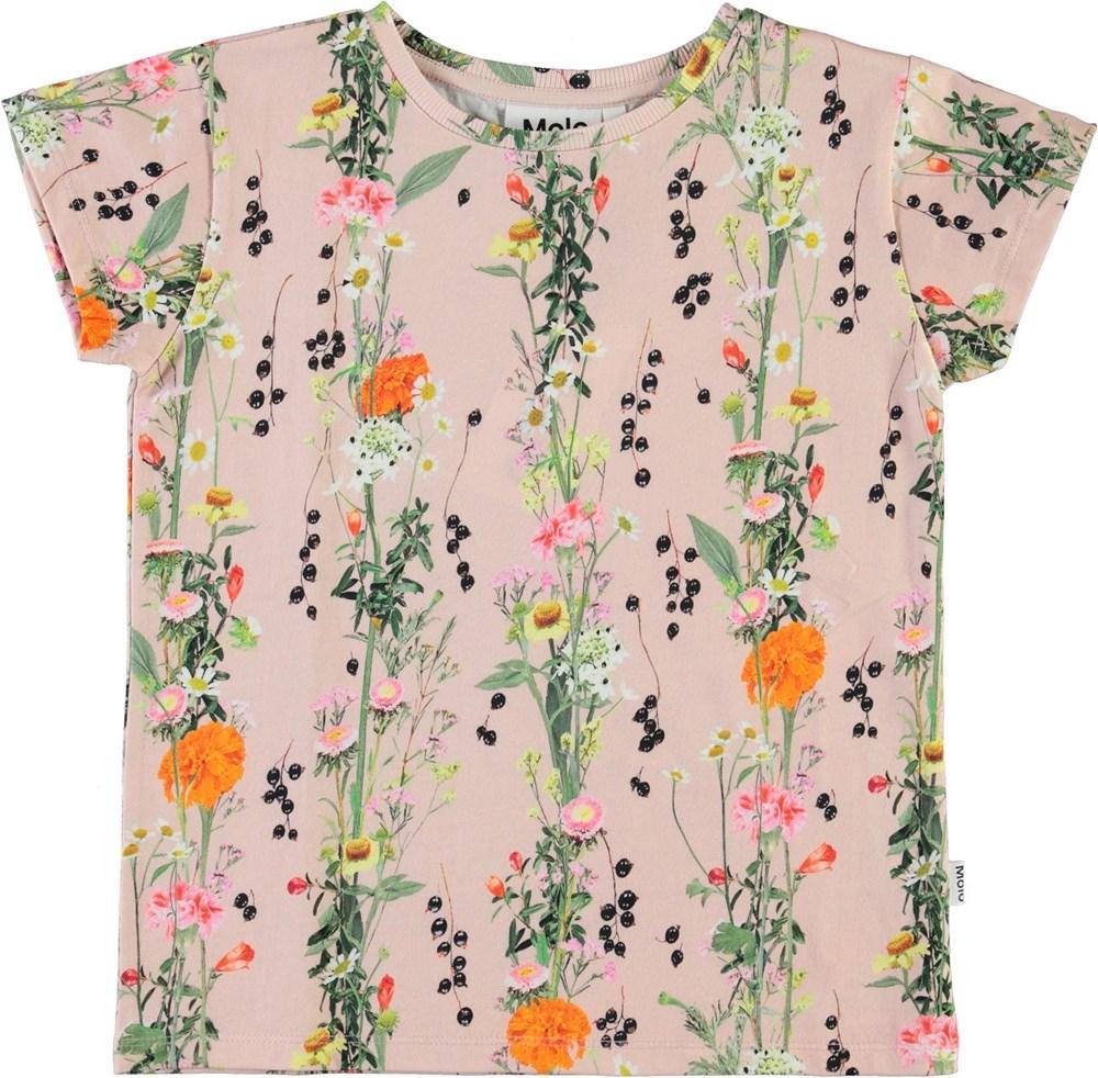 Ranva - Vertical Rose - Økologisk rosa t-shirt med blomster print